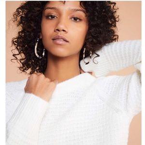 Lou & Grey Ivory Texture-stitch Crewneck Sweater